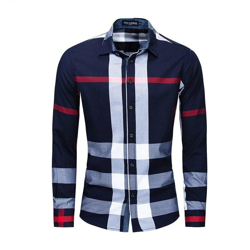 Casual Vertical Plaid Men Slim Fit Shirt