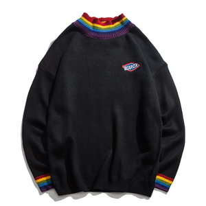 Rainbow Collar Street Style Casual Pullover Men Sweater