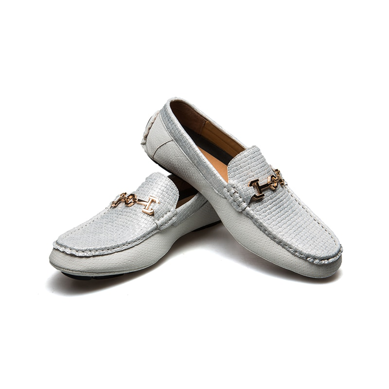 Casual White Brick Pattern Men Leather Boat Shoes - FanFreakz