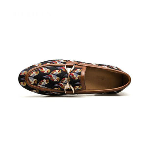 Gold Color Metal Buckle Pattern Art Men Loafer Shoes