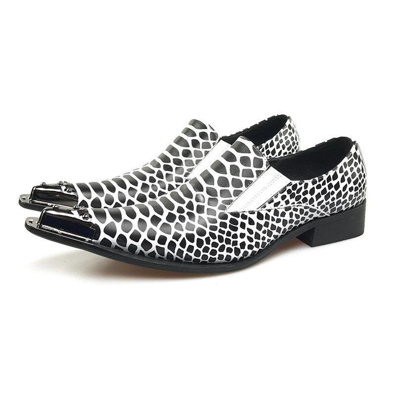 da0c46a4a3fab Snake Pattern Pointed Toe Men Loafer Shoe with Toe Metal Detail