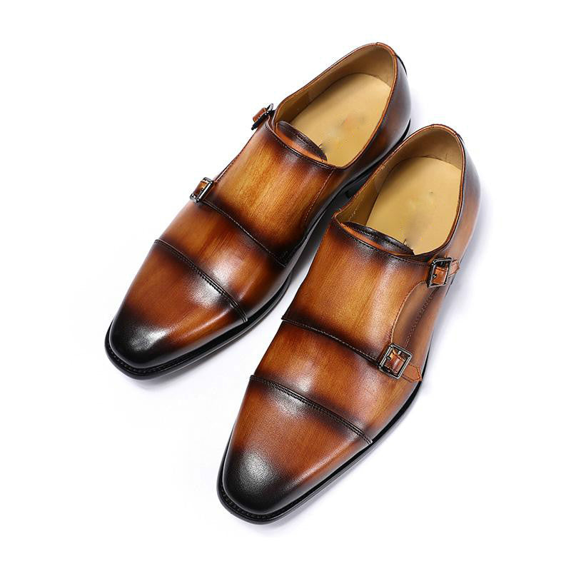 Classic Hand Painted Double Monk Strap Men Shoes - FanFreakz