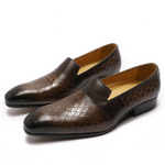 Mens Cow Leather Shoes Brown Slip On Pointed Toe