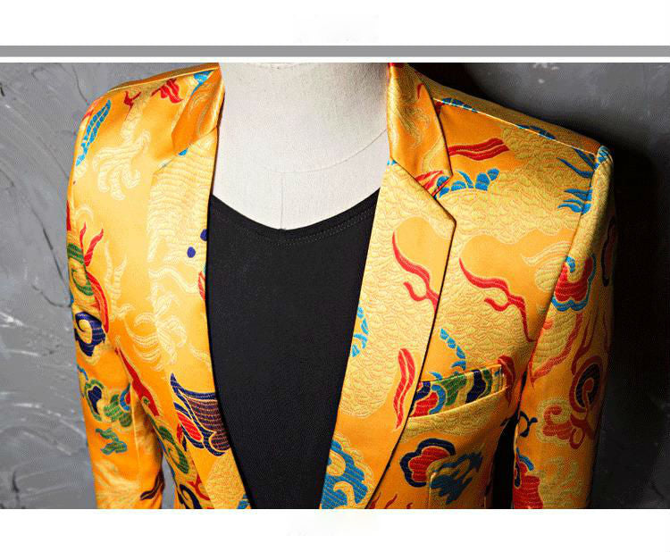 Yellow Golden Emperor Color Chinese Art Pattern Men Blazer