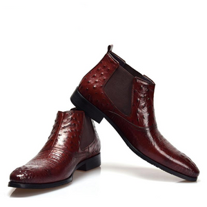 Croco and Ostrich Pattern Leather Patchwork Combination Men Boots - FanFreakz