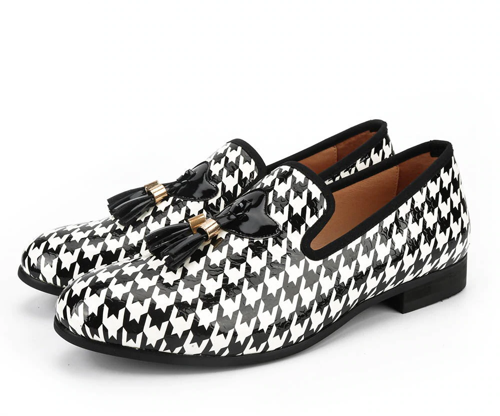 Black White Print Pattern with Tassel Men Shoes