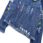 Fun Graffiti Stitch Men Casual Denim Jacket