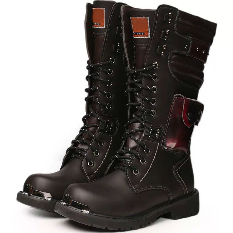 Black Lace Up Military Style Men High Boots - FanFreakz