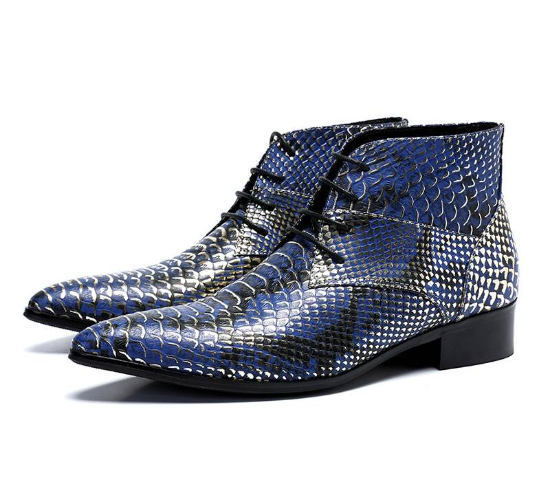 Luxury Pointed Toe Blue Pattern Men Ankle Boots