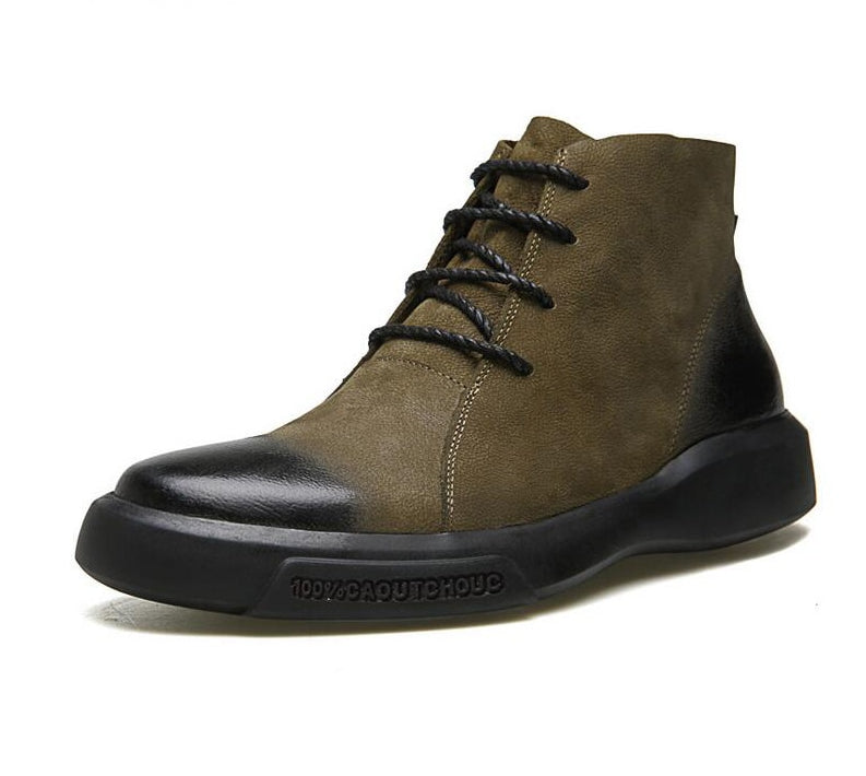 Black Green Lace Up Leather Combination Men Ankle Boots Fanfreakz