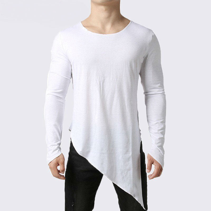 Oblique Cutting Line Men Basic O Neck T-Shirt
