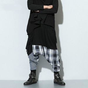 Triple Fabric Combination Hip Hop Streetwear Style Men Harem Pant