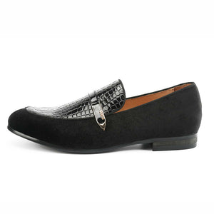 Black Velvet and Embossed Leather Combination with Slim Strap Detail Men Loafers Shoes - FanFreakz