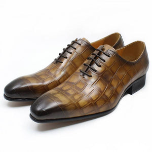 Genuine Leather Crocodile Skin Pattern Pointed Toe Classic Style Men Shoes