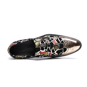 Glow Pointed Toe with Spots Glitter Design Men Fancy Shoes