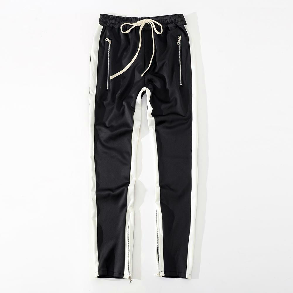 Bottom Zipper Detail Men Side Stripe Jogger Pants - FanFreakz