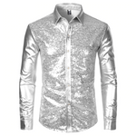 Silver Metallic Sequins Glitter Disco Men Shirt
