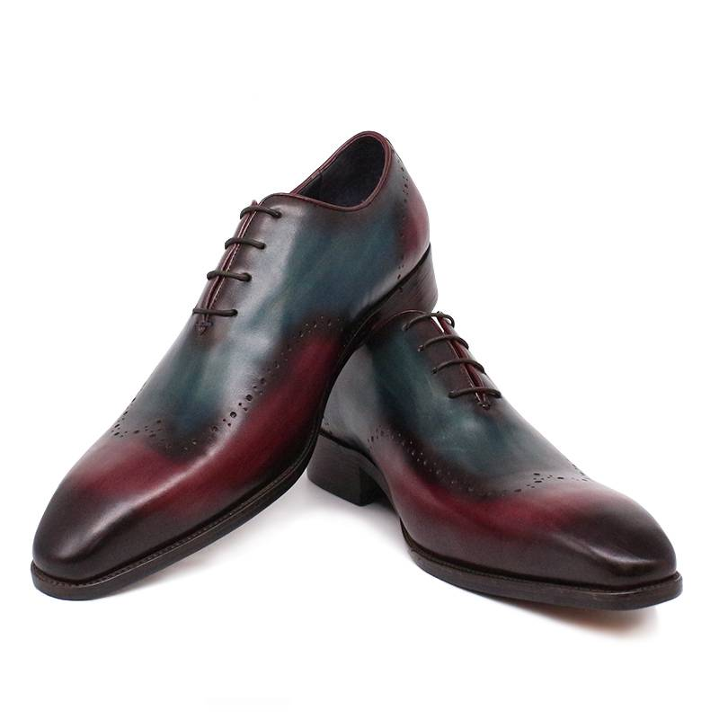 Mix Colors Gradient Pointed Toe Dress Leather Men Shoes