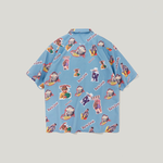 Ocean Blue Character Print in Hawaiian Loose Style Men Short Sleeves Shirt