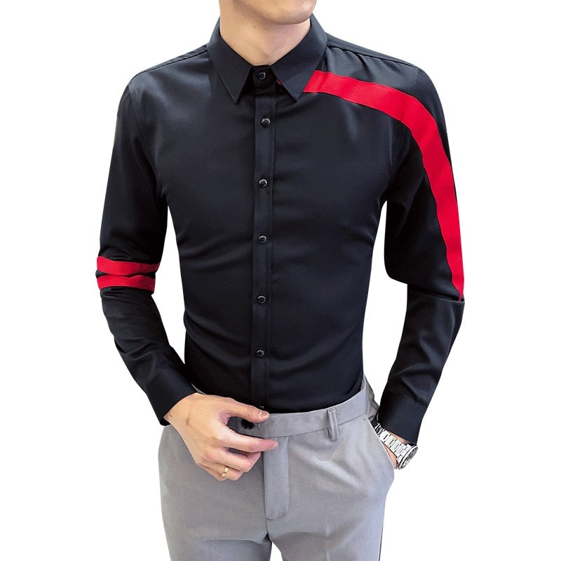 32198199 Simple Red Ribbon Patchwork Modern Style Men Shirts