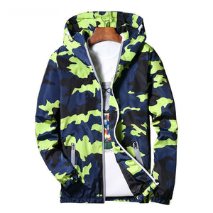 Dynamic Camo Windbreaker Streetwear Style Men Hooded Jacket