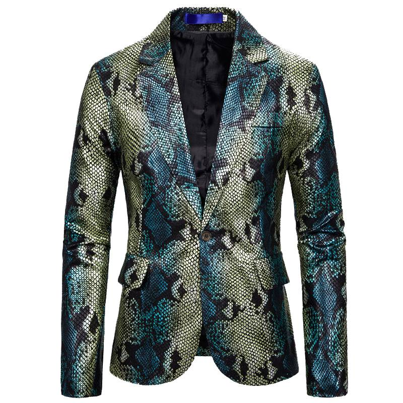 Silver Shiny Fish Scale Pattern Stage Costume Men Blazer