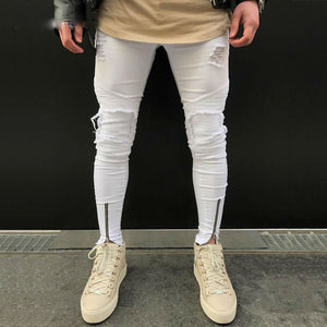 Ripped Pleated Men White Skinny Jeans with Ankle Zipper