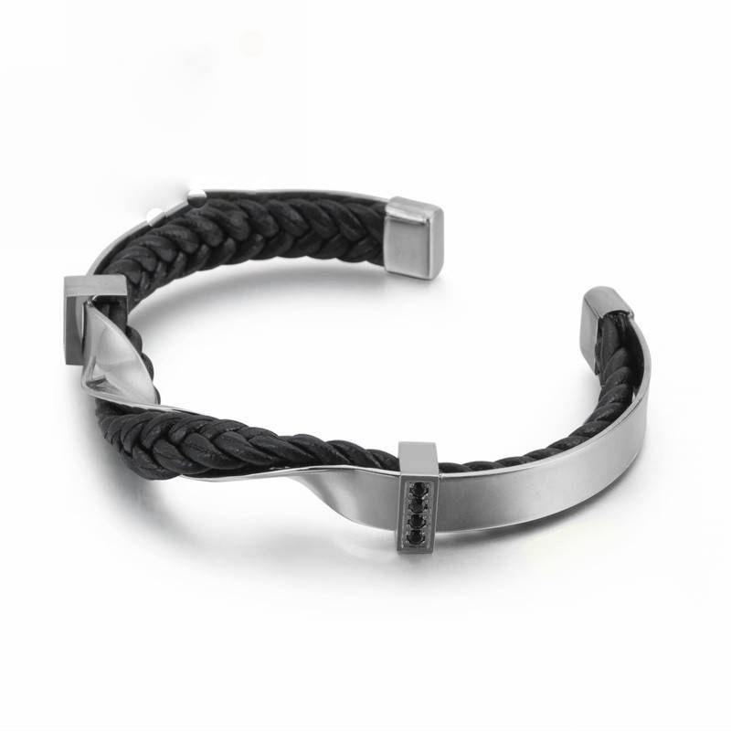 Irregular Twist Stainless Steel Men Charm Bangles