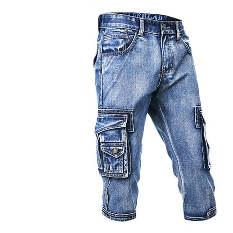 Biker Cargo Denim Multi Pockets Style Men Shorts