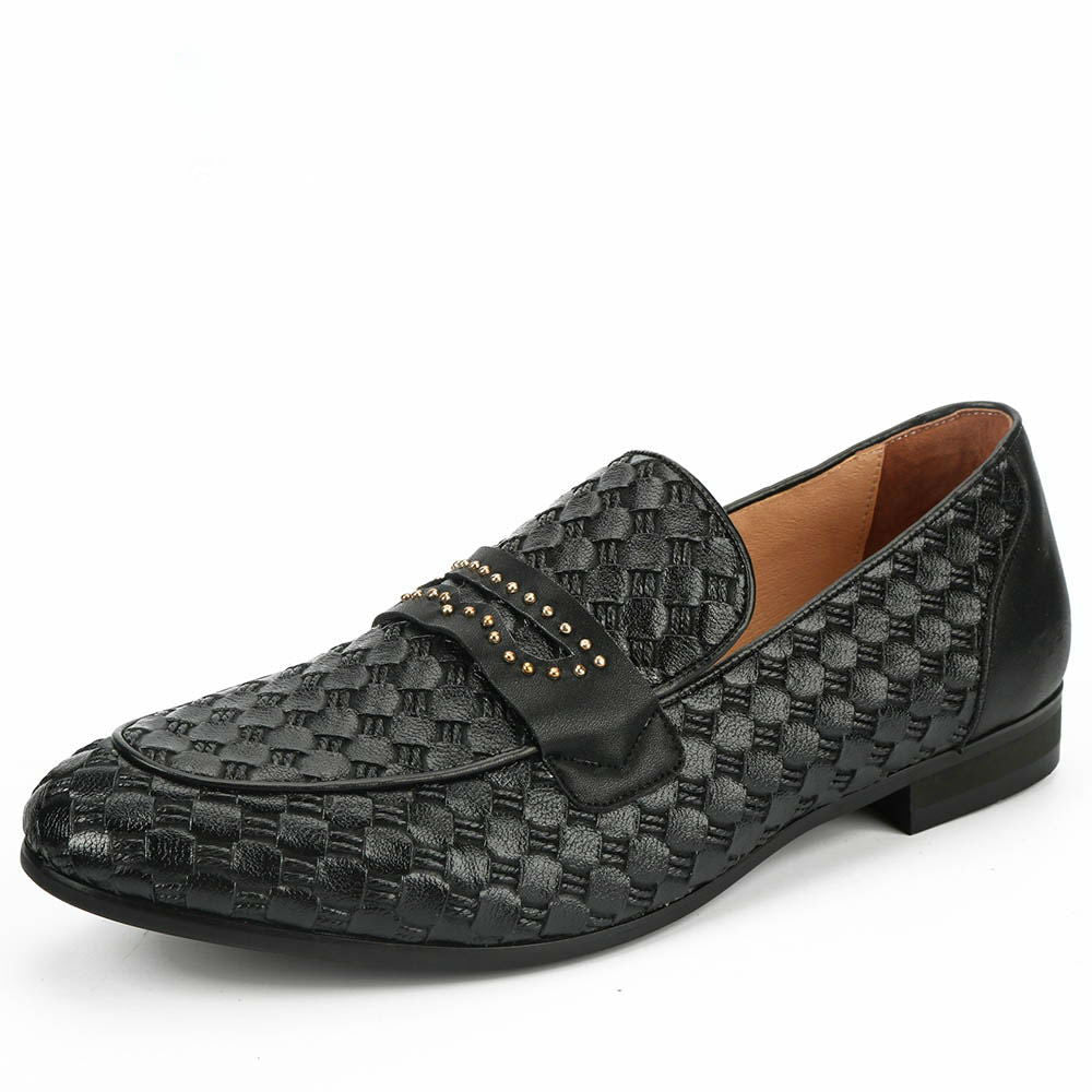 Deluxe Black Plait with Strap Men Dress Shoes - FanFreakz