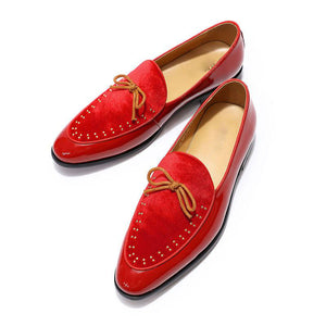 Bow Knot Detail Breathable Leather and Velvet Combination Men Loafers Shoes - FanFreakz