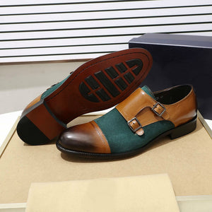 Cap Toe Double Monk Strap Leather and Suede Combination Men Shoes - FanFreakz