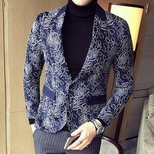 Dark Rose Jacquard Party Men Slim Fit Blazer - FanFreakz
