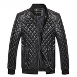Criss Cross Design Solid Casual Men PU Leather Jacket