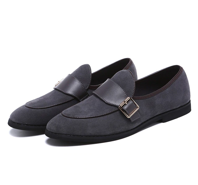 Pointed Toe Monk Strap Split PU Leather Men Shoes