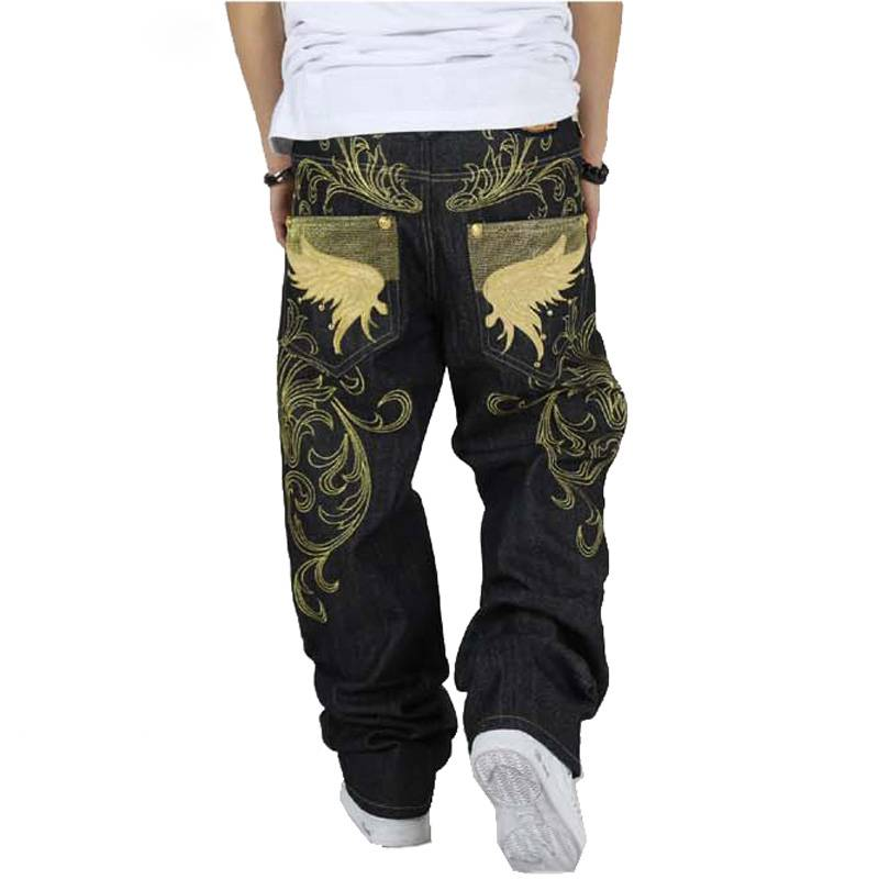 Hip Hop Loose Large with Wing Embroidery Men Jeans