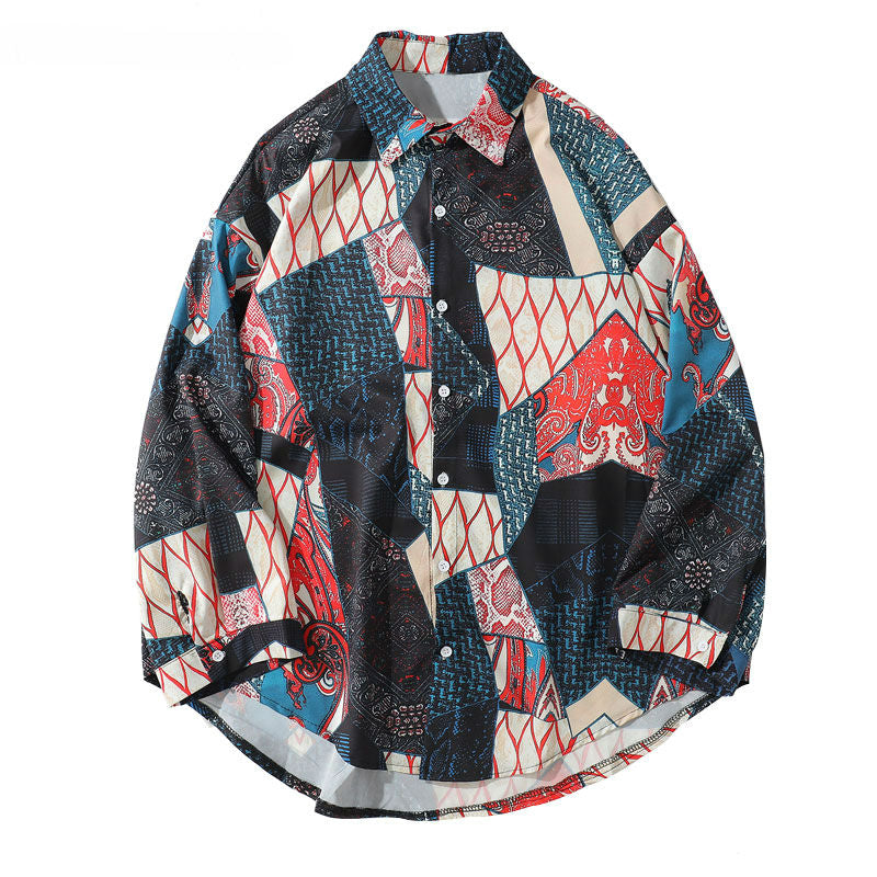 Japanese Ukiyo E Geometry Pattern Casual Streetwear Men Shirt