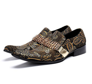 Vintage Pointed Toe Paisley with Chain Ornament Detail Men Shoes