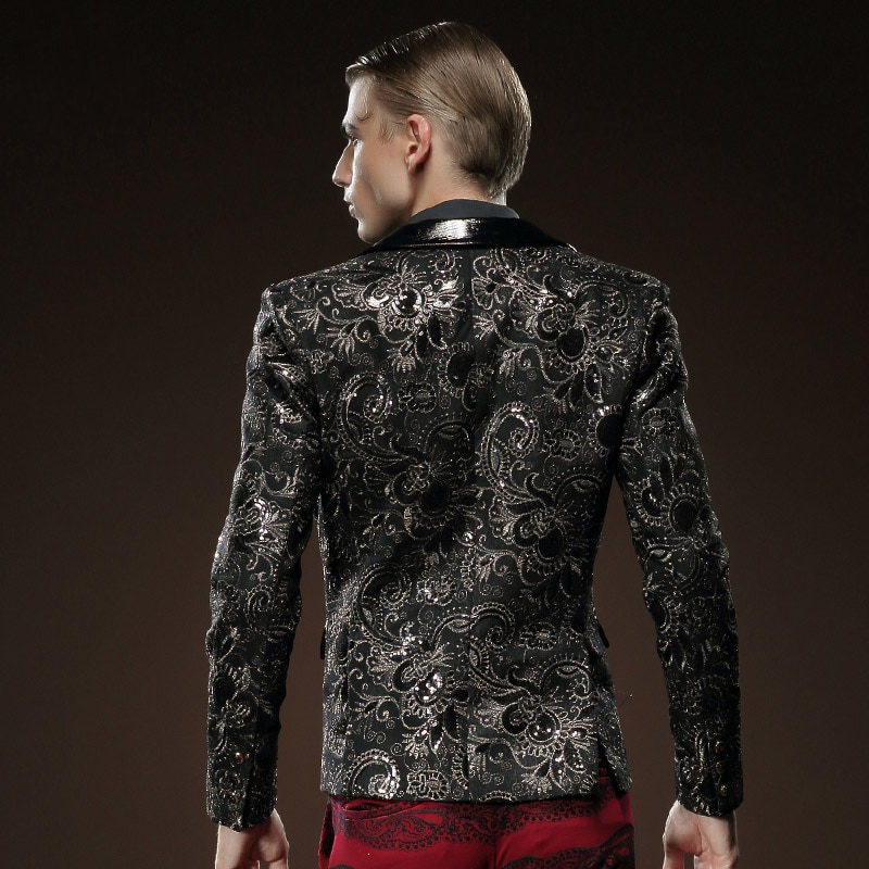 Black in Paisley Pattern and Solid Collar Design Men Blazer - FanFreakz