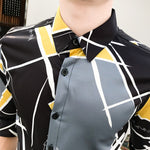 Geometric Digital Contrast Colour Print Men Slim Fit Shirt