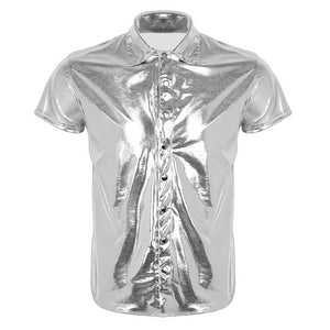 Silver Black Sexy Shine Metallic Short Sleeve Solid Casual Style Men Shirts