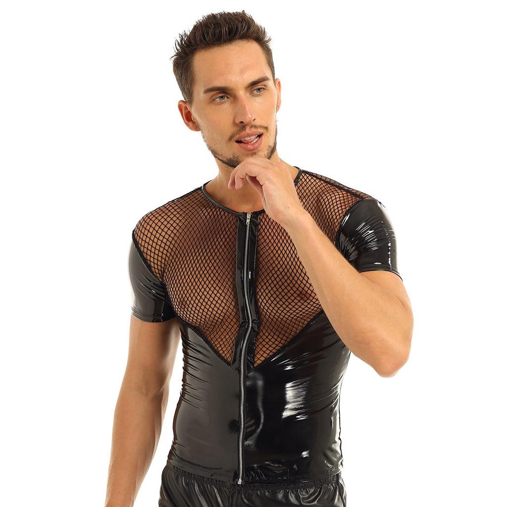 Sexy Fishnet Splice Punk Clubwear Costume Short Sleeve Style Men T-Shirt
