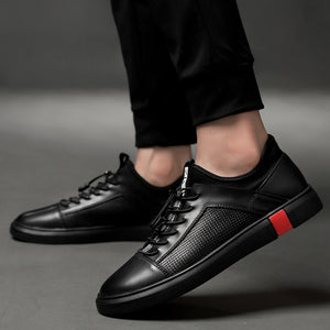 Black Genuine Leather Lace Up Breathable Men Sneakers - FanFreakz