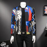Asymmetric Print Mix Color Men Slim Fit Jacket - FanFreakz