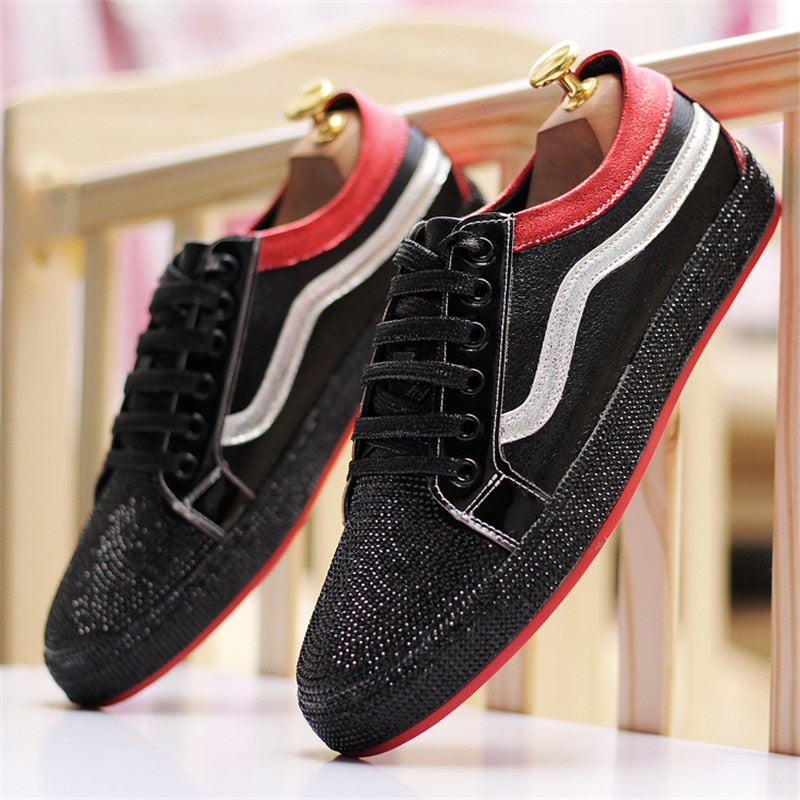 Shine Flat Low Top Lace Up Casual Men Sneaker