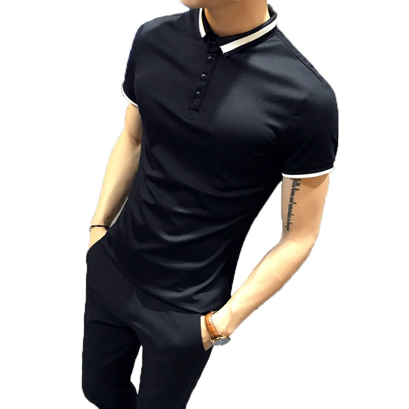 Casual Black and White Slim Fit Design Men Polo Shirt