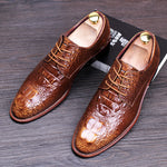 Crocodile Pattern Men Brogue Shoes - FanFreakz