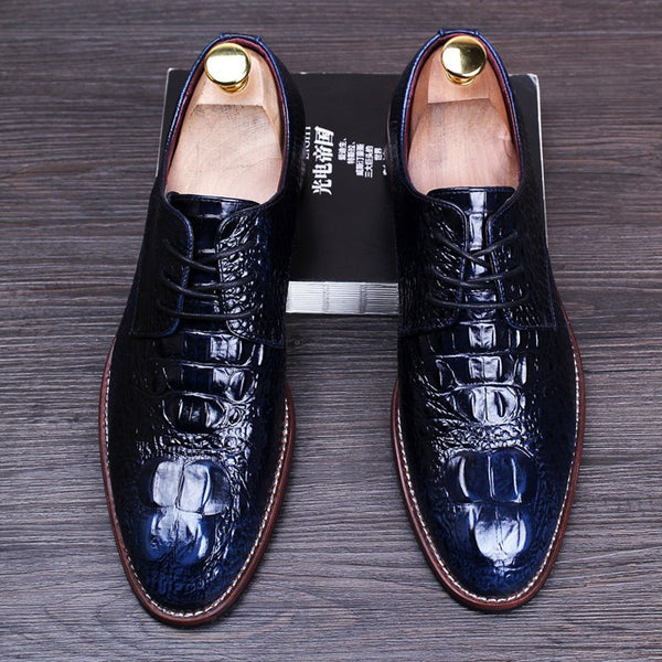 Crocodile Pattern Men Brogue Shoes