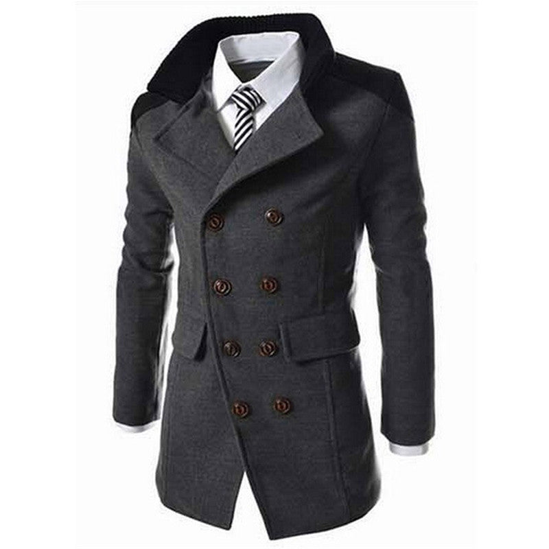 Double Breasted Turn Down Collar Men Pea Coat - FanFreakz