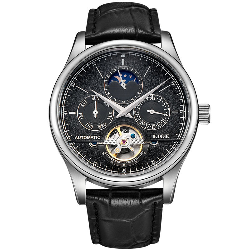LIGE Luxury Moon Phase Automatic Tourbillon Watch - FanFreakz